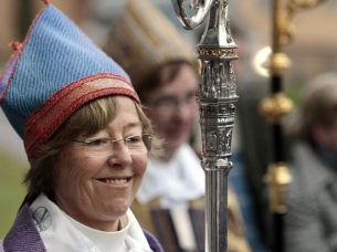 Eva Brunne, who was made the world's first openly lesbian bishop by the church of Sweden in 2009, and has a young son with her wife and fellow lesbian priest Gunilla Linden.