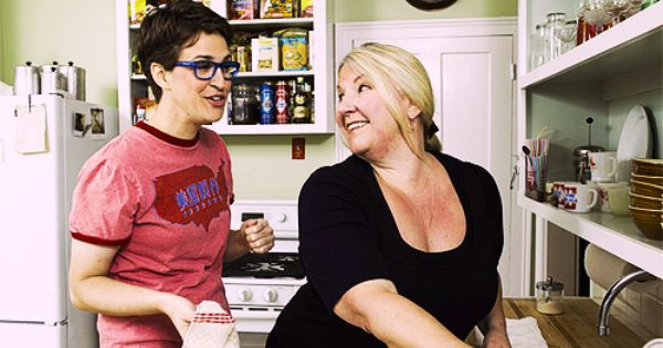 Rachel Maddow and her partner Susan Mikula at home.